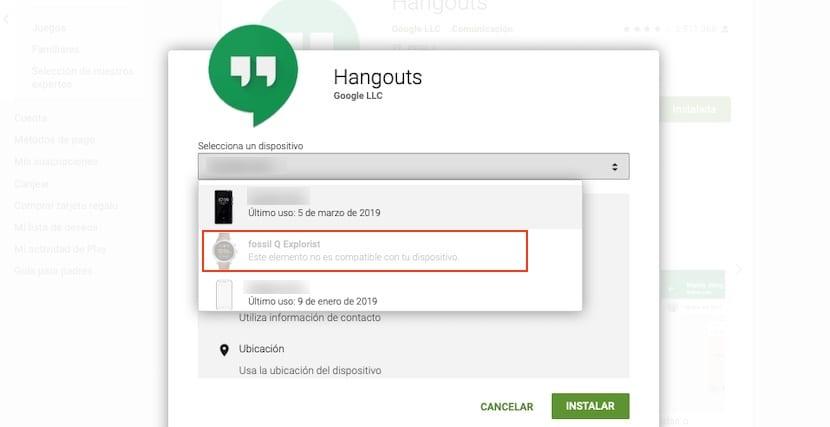 Hangouts para Wear OS