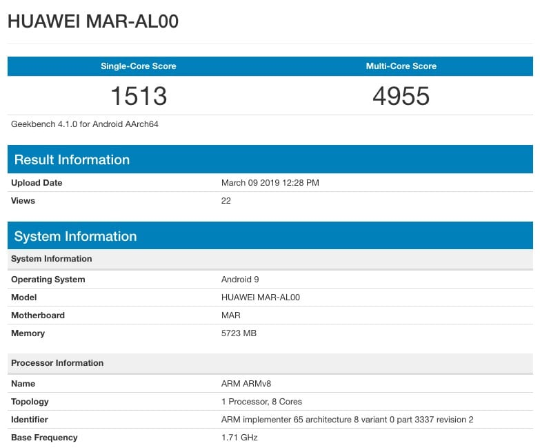 Huawei Nova 4e en Geekbench