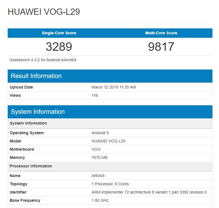 Huawei P30 Pro en Geekbench
