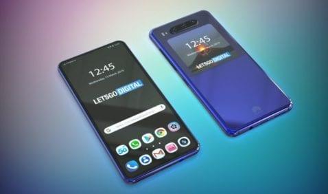 Render del teléfono de Huawei con pantalla doble