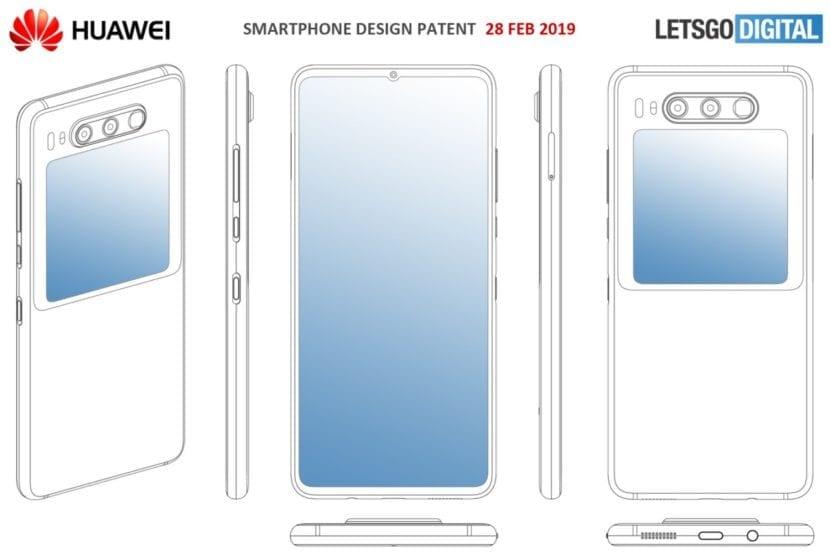 Patente de teléfono Huawei con pantalla doble