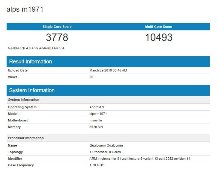 Meizu 16S en Geekbench