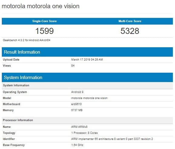 Motorola One Vision en Geekbench
