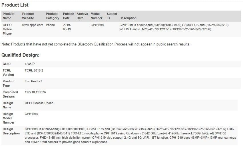 Oppo Reno certificado por Bluetooth SIG