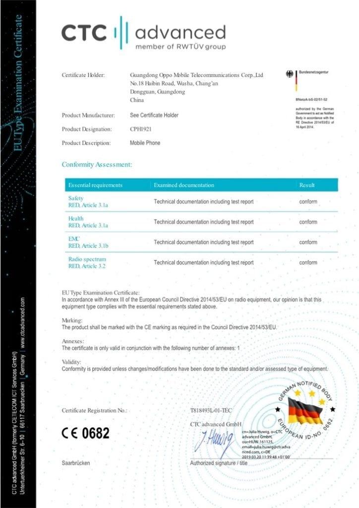 Oppo smartphone 5G certificado CTC y CE
