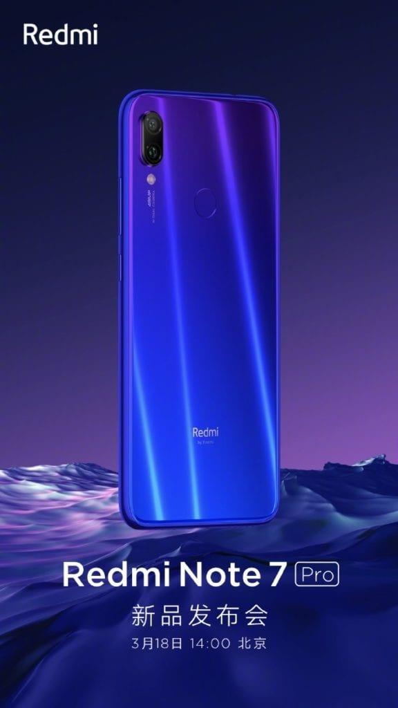 Teaser del lanzamiento del Redmi Note 7 Pro en China