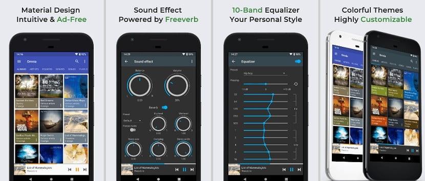 Funciones del reproductor de música Omnia Music