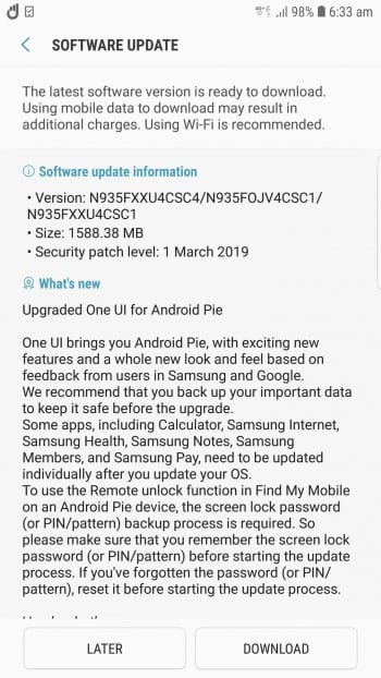 El Samsung Galaxy Note FE recibe Android Pie