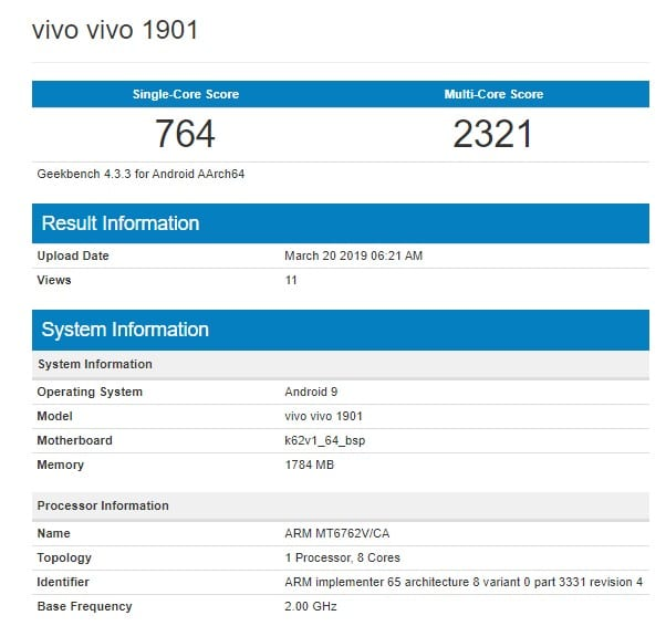 Vivo 1901 en Geekbench
