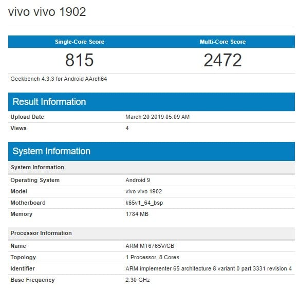 Vivo 1902 en Geekbench
