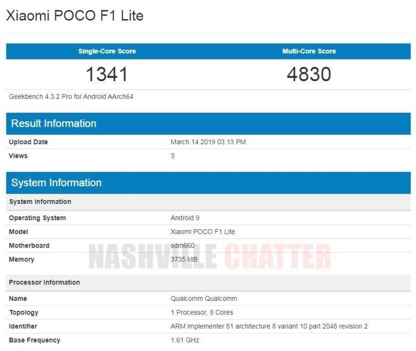 Xiaomi Poco F1 Lite en Geekebench