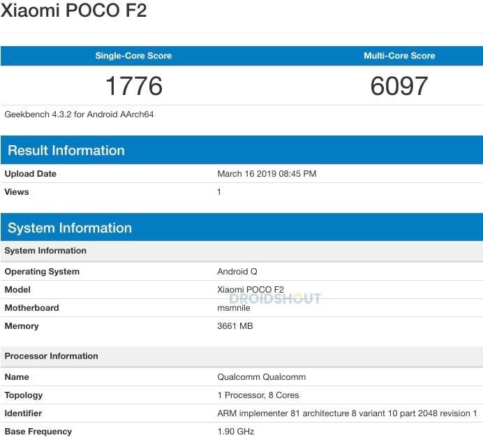 Xiaomi Poco F2 en Geekbench