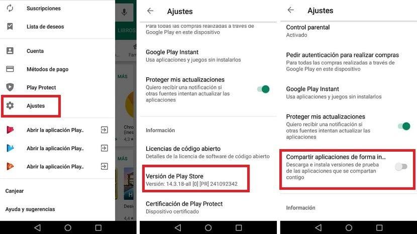 Google Play opciones desarrollador