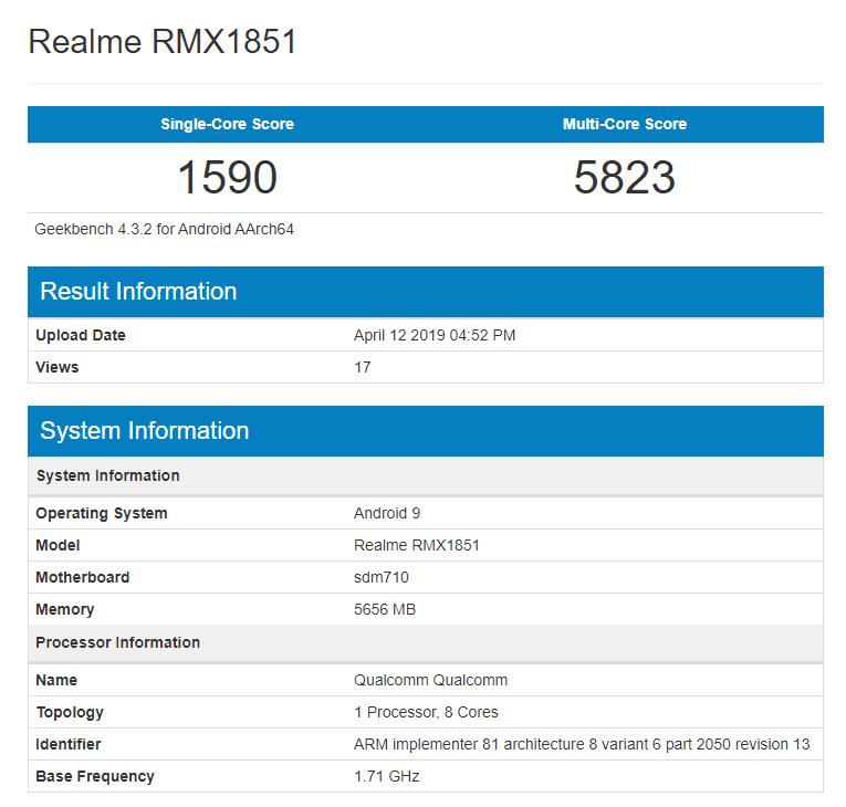 Realme 3 Pro en Geekbench con Snapdragon 710