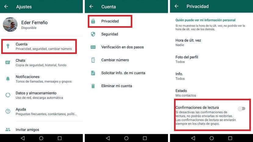 WhatsApp confirmaciones de lectura