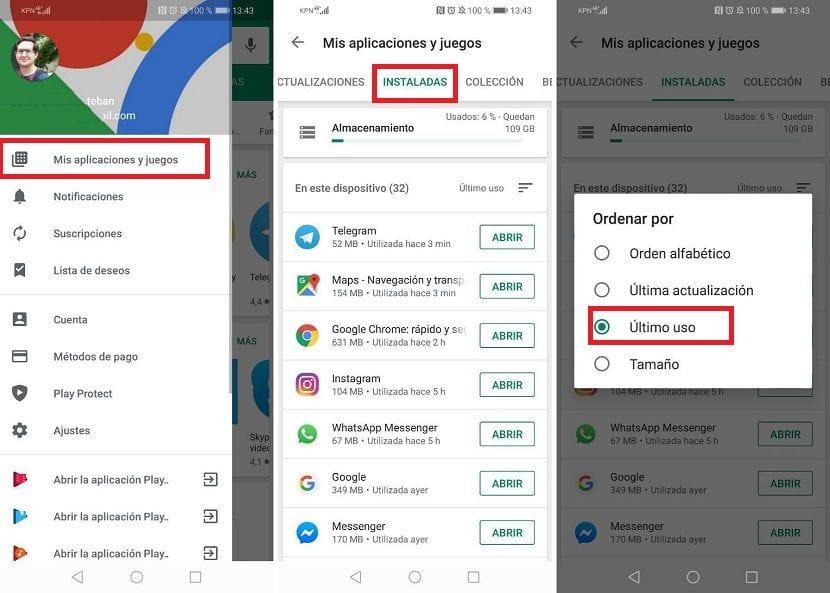 Google Play aplicaciones Android instaladas