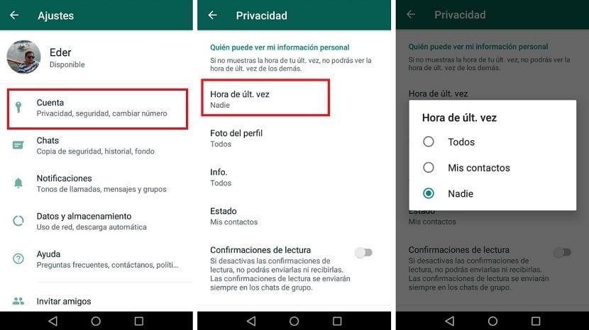 WhatsApp ultima conexion