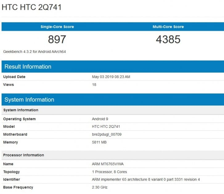 HTC 2Q741 en Geekbench