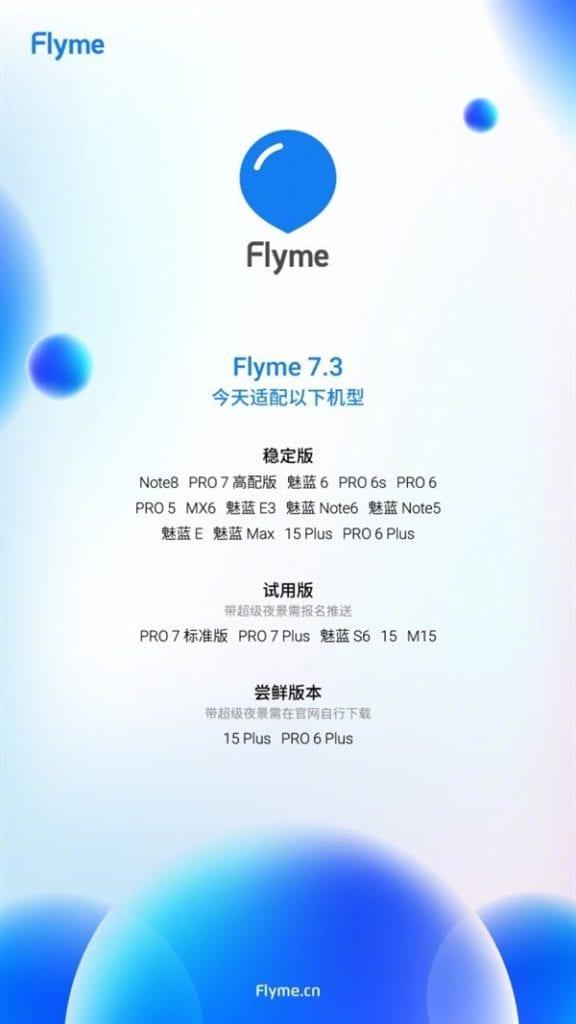 Lista de teléfonos Meizu que recibirán Flyme OS 7.3