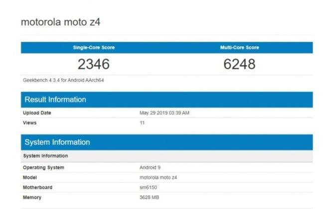 Motorola Moto Z4 en Geekbench