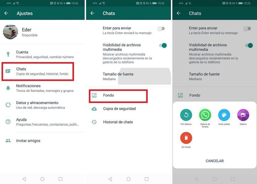Cambiar fondo WhatsApp