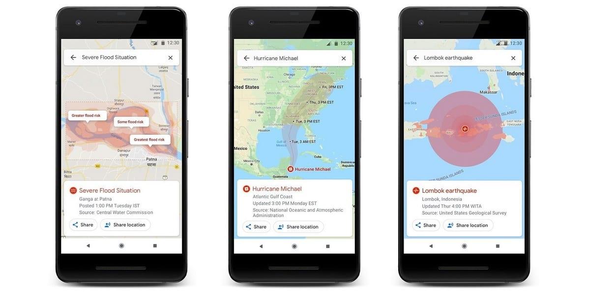 Google Maps desastres naturales