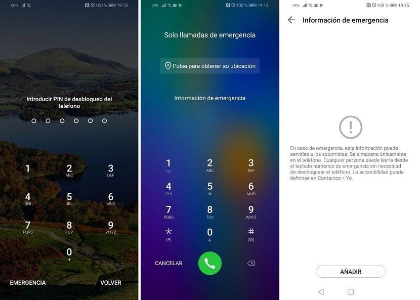 Informacion de emergencia Android