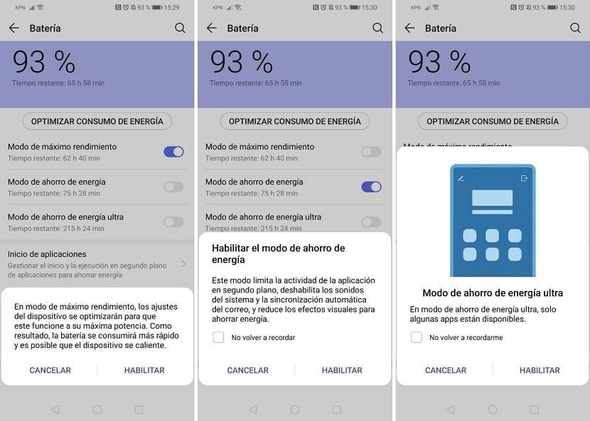 Huawei ahorro de bateria