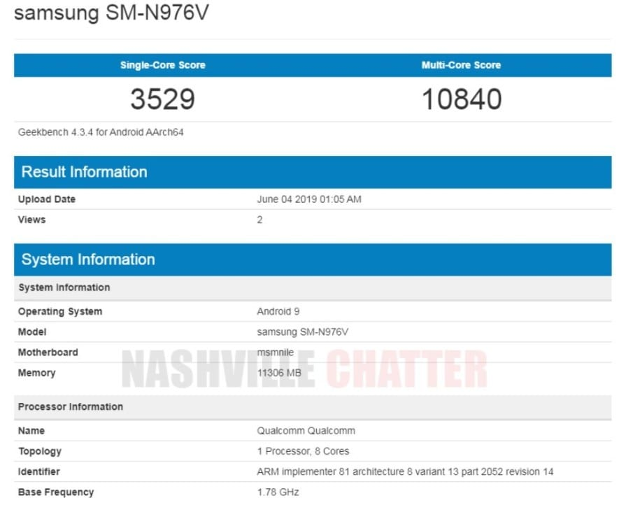 Samsung Galaxy Note 10 en Geekbench