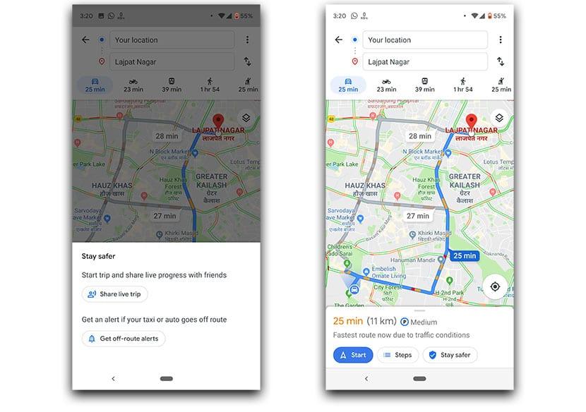 Avisos de Google Maps