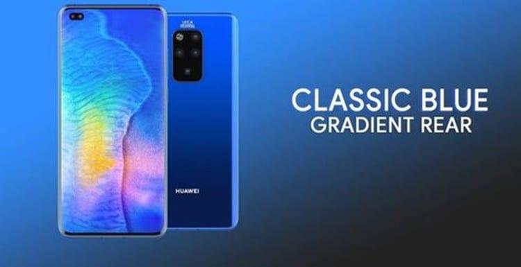 Concepto del Huawei™ Mate 30 Pro en azul