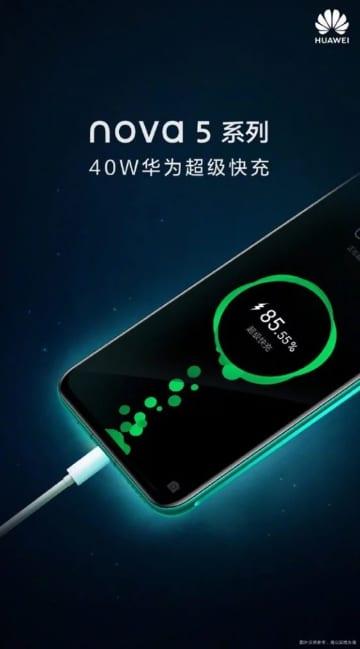 Póster del Huawei Nova 5 con carga rápida de 40 w