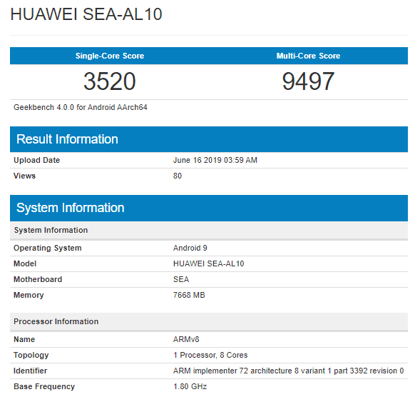 Huawei Nova 5(cinco) Pro en Geekbench