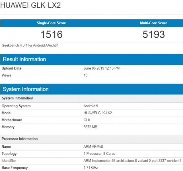 Huawei Nova 5i en Geekbench