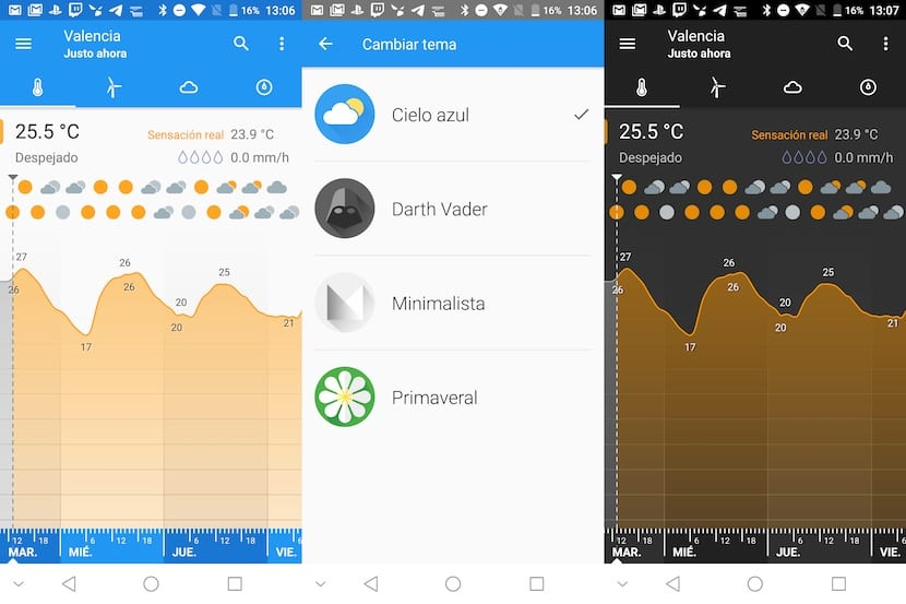 Klara Weather - Aplicaciones modo oscuro Android