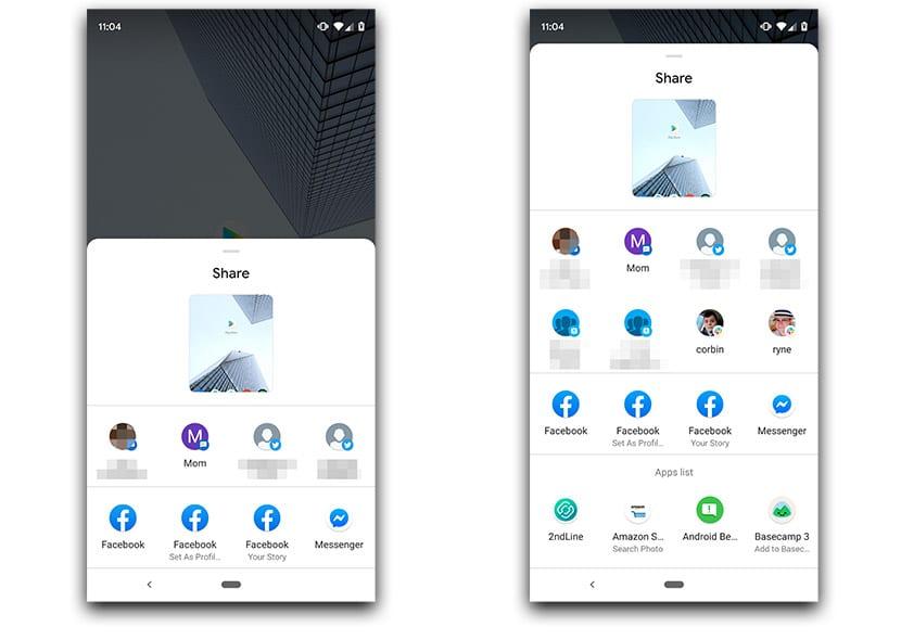 Menú de compartir Android Q