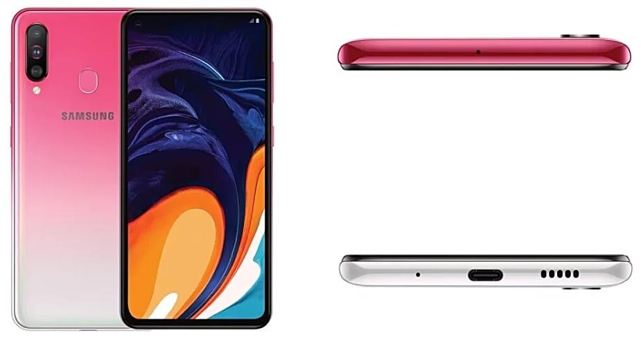 Samsung Galaxy A60 Peach Mist desde todos sus ángulos