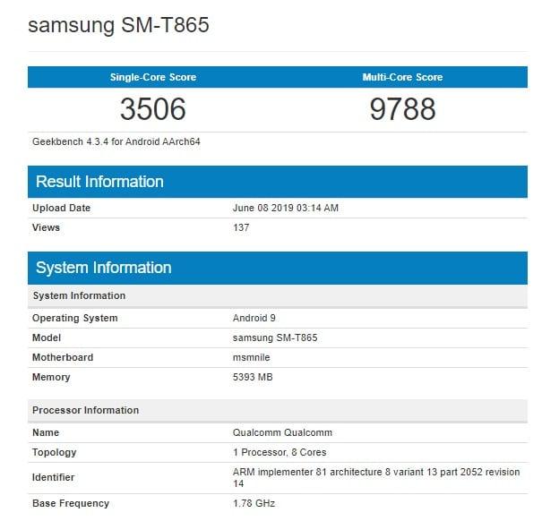 Samsung Galaxy Tab S5 en Geekbench