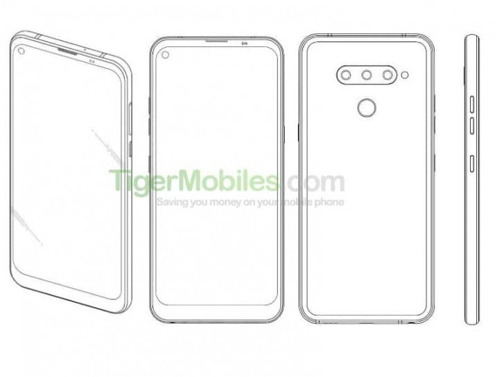 Patente del teléfono inteligente de LG con pantalla perforada