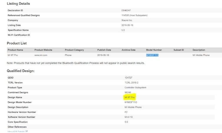 Xiaomi Mi 9T Pro en Bluetooth SIG