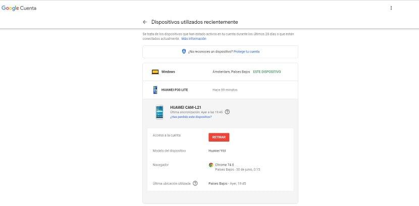 Cuenta de Google eliminar dispositivo