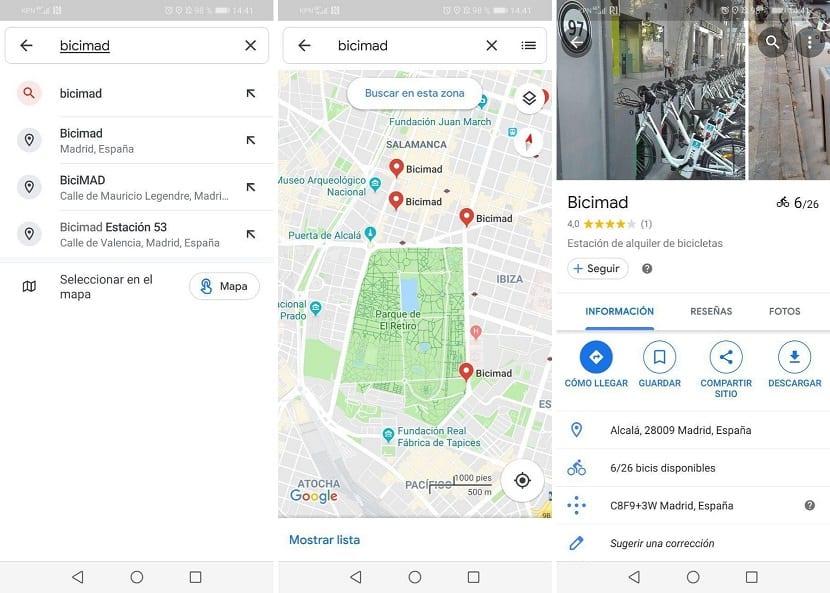 Google Maps bicis alquiler