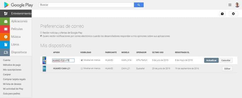Google Play cambiar nombre