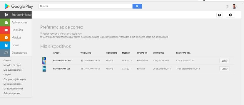 Google Play dispositivos