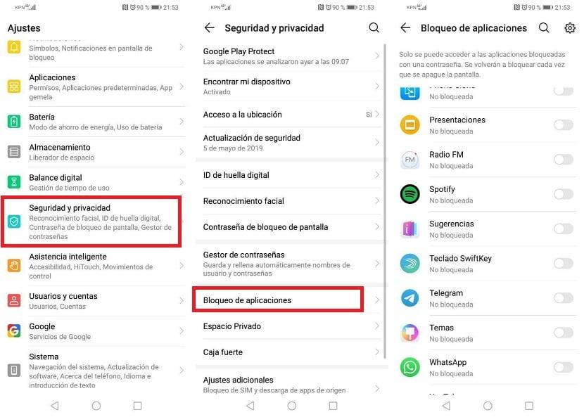 Huawei bloqueo de aplicaciones