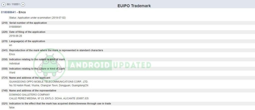 """Marca """"Enco"""" registrada en la base de datos de EUIPO"""