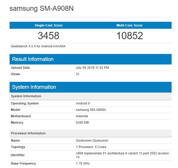 Listado del Samsung Galaxy A90 en Geekbench