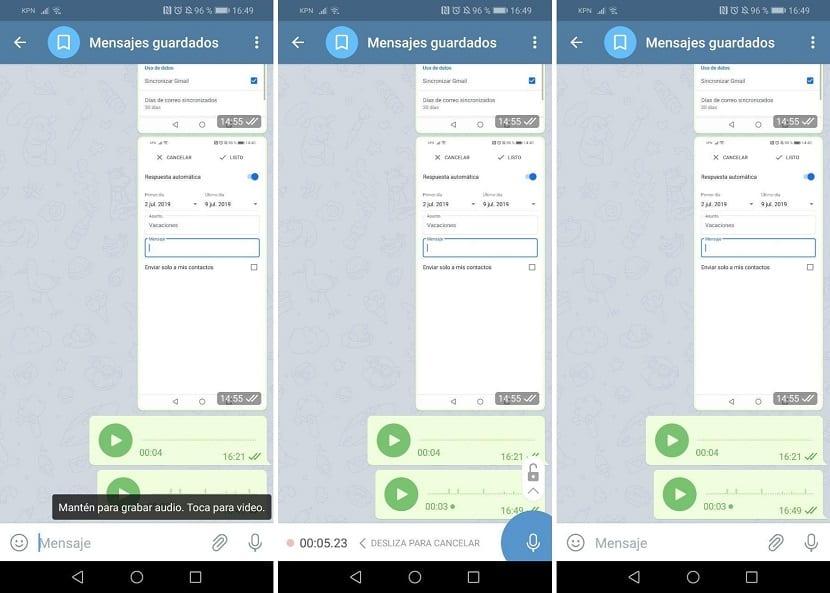Telegram mandar nota de voz