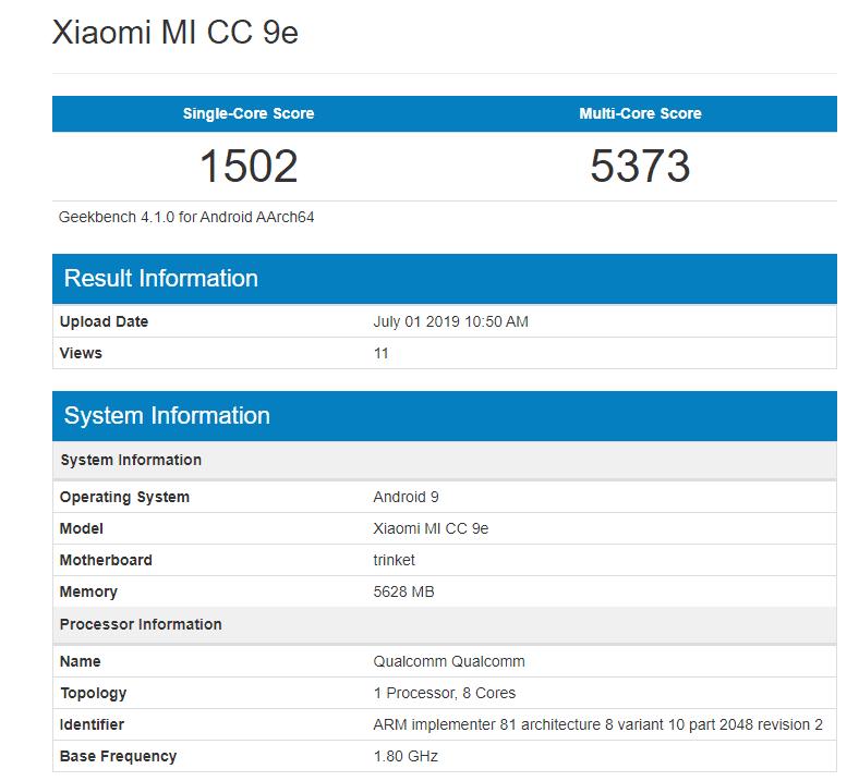 Xiaomi Mi CC9e con Snapdragon 665 en Geekbench