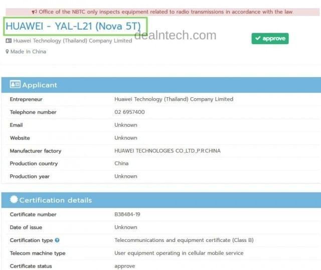 Certificación del Honor 20 como Huawei Nova 5T en Tailandia